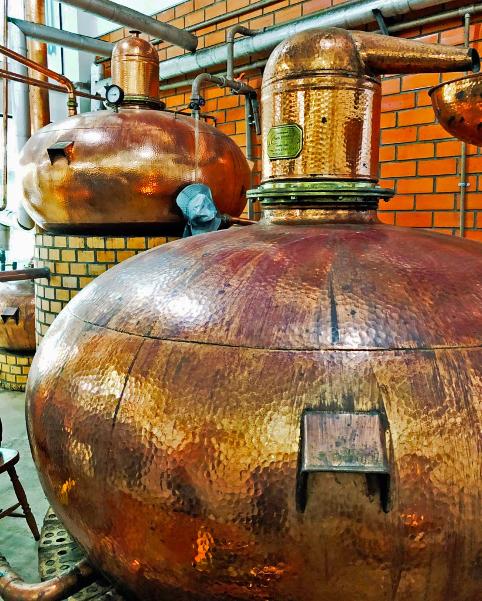 alambicchi di rame lucido alla distilleria di cachaça Xanadu, a Blumenau
