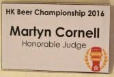 badge da giudice all'HK Beer Championship 2016 di Martyn Cornell